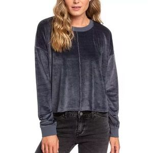 Roxy gray velvet NWT long sleeve top